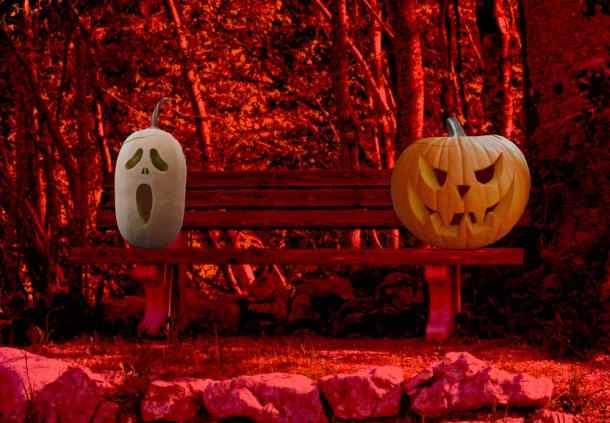 Scary jack-o-lanterns sitting on a bench in the woods