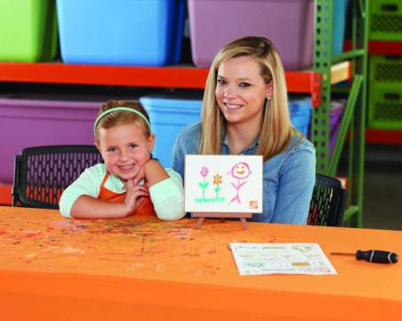Free workshop for kids-Home Depot, smiling child with parent