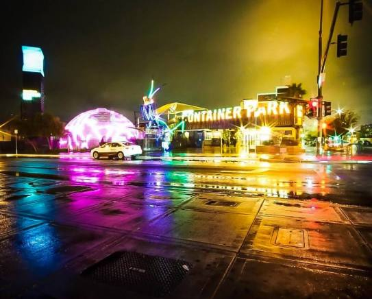 Downtown container park lit up bright lights at night