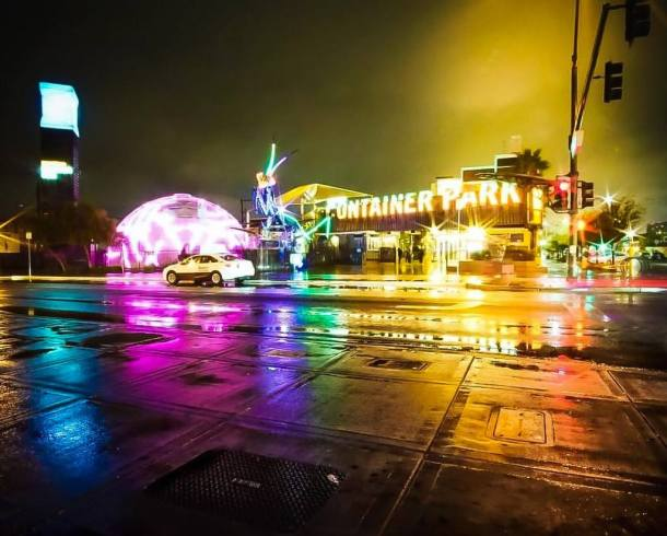 The Downtown Container Park for a cheap date night in Las Vegas