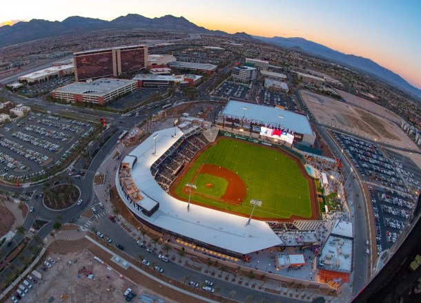 Las Vegas Ballpark, view from the sky, Red Rock Resort in the background