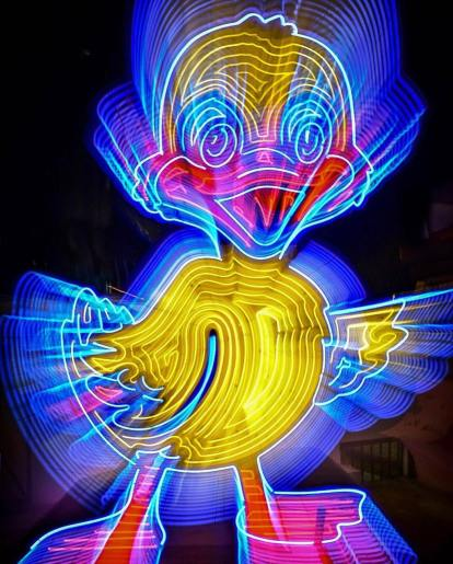 Neon duck from the Neon Museum, a great cheap date night option