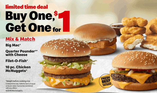 McDonald's BOGO for $1 poster, with burgers and nuggets