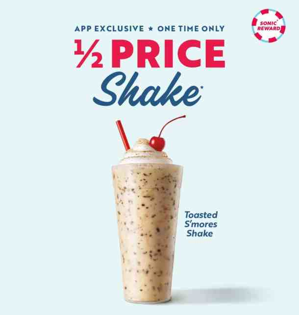 sonic half price shakes one time offer