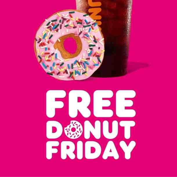 dunkin free donut fridays in May