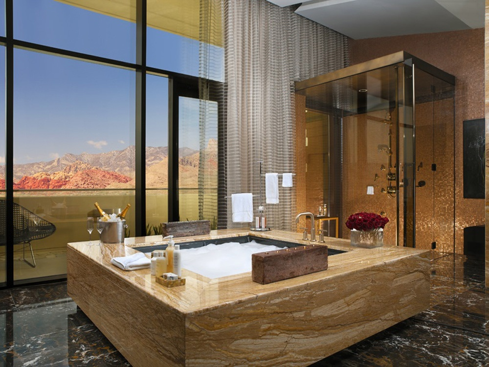 vegas hotel bathrooms to get ready for girls' night out
