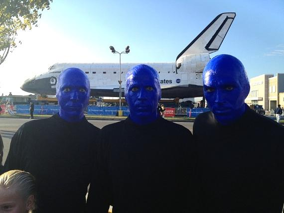 Blue Man Group spotted checking out the space shuttle endeavor in Los Angeles