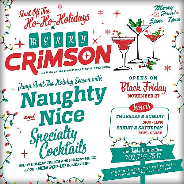 Have Yourself A Merry Crimson at Red Rock Casino's Seasonally Inspired Popup Holiday Bar