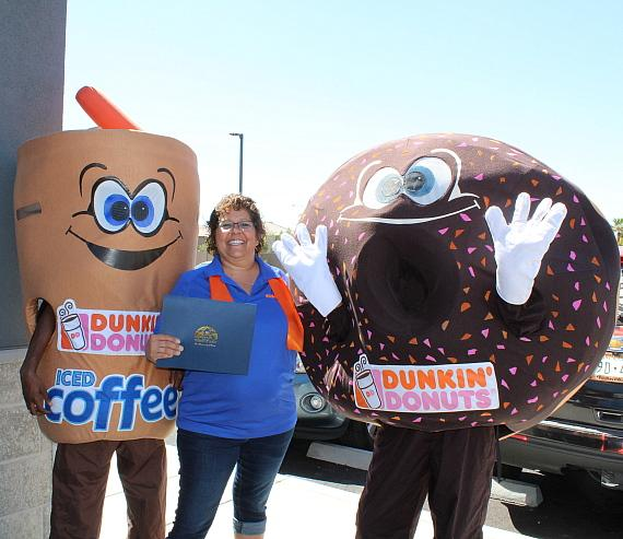Dunkin' Mascot Iced Cuppy, Store Manager Candy Delucia and Sprinkles Mascot Celebrate New Store Opening with City of North Las Vegas Proclamation