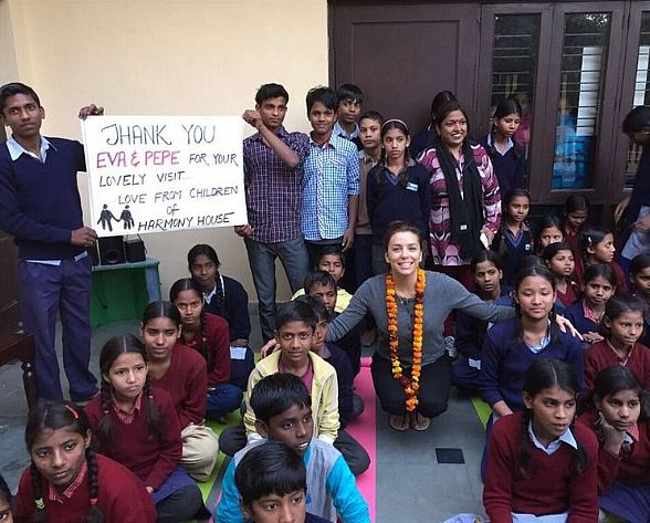 Actress Eva Longoria Visits Shelter for Destitute Children in India