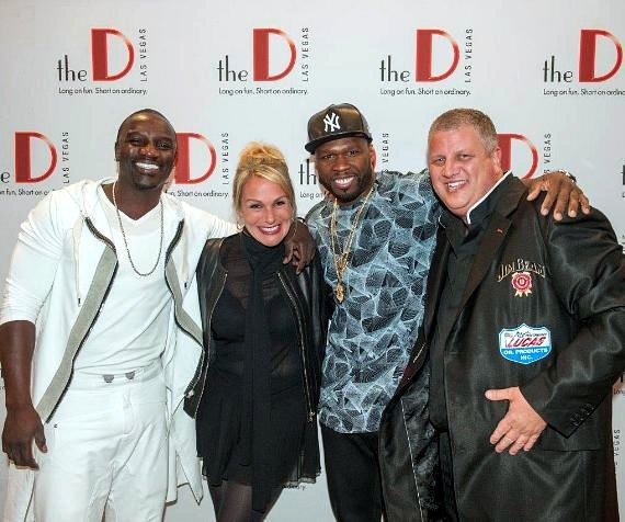 "50 Cent and Akon at ""Knockout Night at the D"""