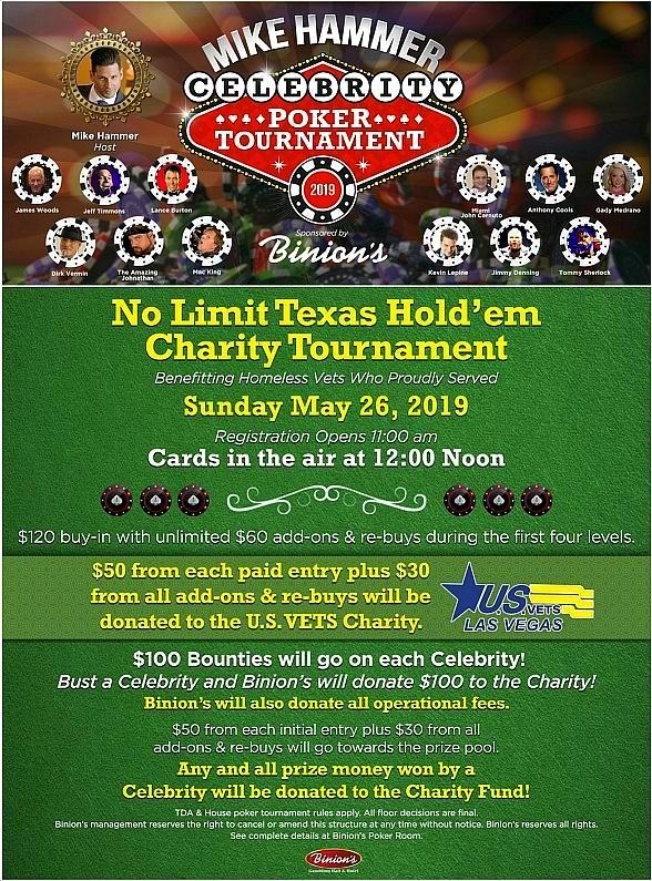 Four Queens Headliner Mike Hammer to Host Celebrity Charity Poker Tournament at Binion's Gambling Hall May 26, 2019