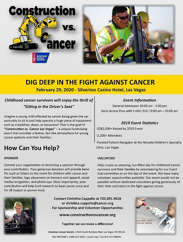 Third Annual Construction vs. Cancer Event to benefit American Cancer Society, Feb. 29