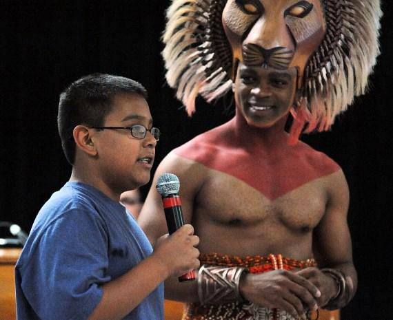 Niles Rivers as Simba, 5th grader Daniel Hernandez & teacher Danielle Rayos
