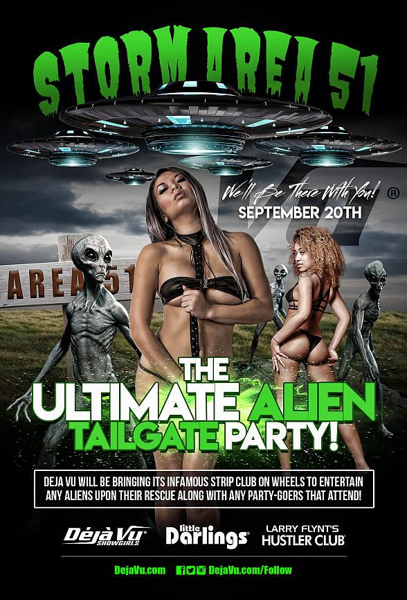 """Deja Vu Strippers to Greet """"Storm Area 51"""" Visitors with """"Ultimate Alien Tailgate Party"""""""