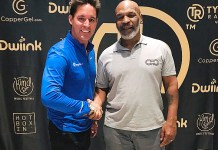 British Comedian Paul Scally with Mike Tyson at Planet 13 in Las Vegas
