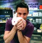 Wizard Wars creator/producer Rick Lax holds one of the Challenger Round's 'mystery objects' – a bunny rabbit