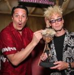 "Magician Douglas ""Lefty"" Leferovich and Murray SawChuck at his shrunken head reveal"