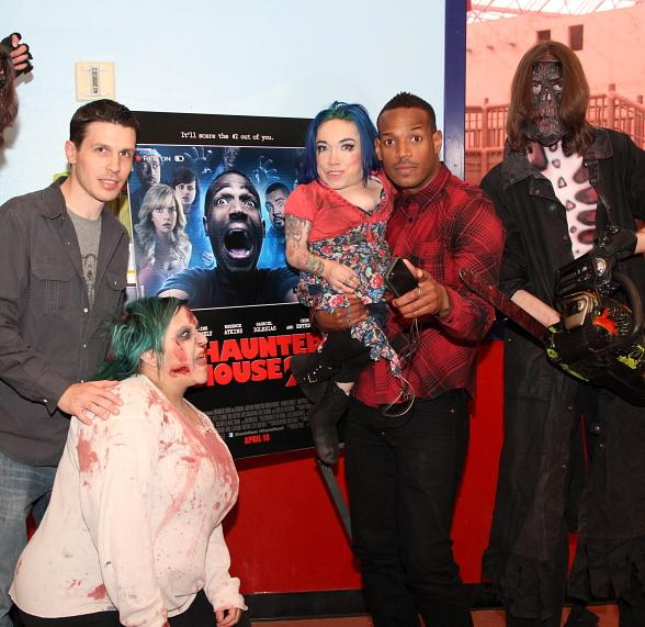 Jason Egan and Marlon Wayans with Fright Dome monsters