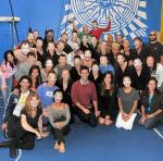 """Justin Bartha and his date Lea with cast of """"O"""" by Cirque du Soleil"""