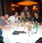 Mac Brandt, Jonathan Silverman, Jennifer Finnigan, Jeremy Cohenour, Chris Mckenna and the D Executive Richard Wilk (back row) at Andiamo Italian Steakhouse in the D Casino Hotel