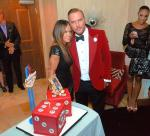 Robin Antin and Matt Goss with his birthday cake custom-made by Caesars Palace pastry chefs