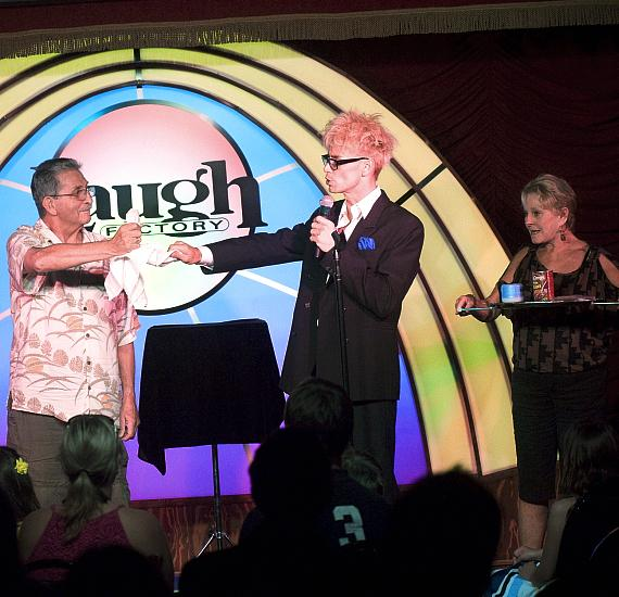 """Murray SawChuck performs the """"Vanishing Watch Illusion"""" in 'MURRAY Celebrity Magician"""" Vanishing Watch Illusion at Laugh Factory in The Tropicana Las Vegas"""