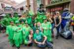 """Gathered at the entrance of O'Sheas Casino, Brian """"Lucky"""" Thomas, Jeff Civillico, dancers from X Rocks and X Burlesque, a troop of leprechauns, stilt walkers, green hunks and bag pipers, kicked-off O'Sheas BLOQ Party at The LINQ."""