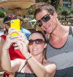 Ryan Lochte talking selfie with fan at Azure Luxury Pool at The Palazzo Las Vegas