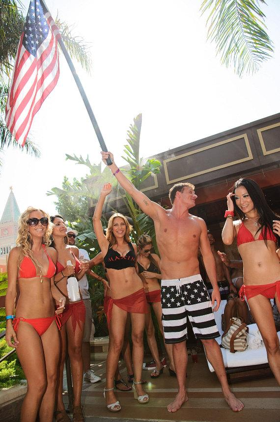 Olympian Ryan Lochte with fans at TAO Beach