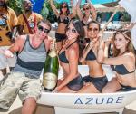 Ryan Lohte with the Azure gals, champagne and drummers