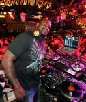 Shaq behind the DJ booth at Chateau Nightclub & Rooftop