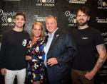 Chainsmokers Alex Pall and Drew Taggart with the D Las Vegas Owner Derek Stevens and his wife Nicole at Fremont Street Experience