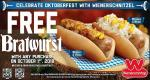 Wienerschnitzel is giving away a free bratwurst with any purchase