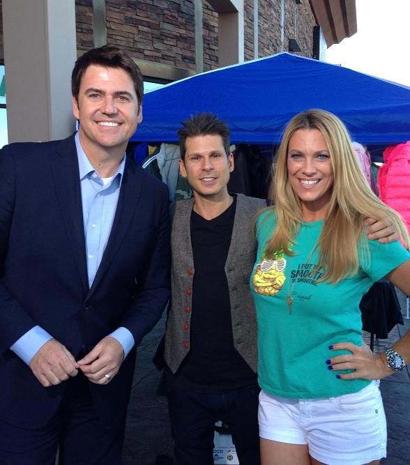 "Bryan Scofield, Mike Hammer and Dina Mitchell at Tropical Smoothie's ""Coats for Kids"" Drive in Las Vegas"