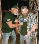 """Wrestling Legend Bill Goldberg and UFC/MMA Fighter Roy """"Big Country"""" Nelson at Andiamo Italian Steakhouse inside the D Casino Hotel Las Vegas"""