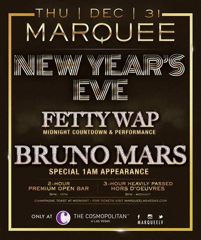 Fetty Wap Bruno Mars New Years Eve Marquee Las Vegas