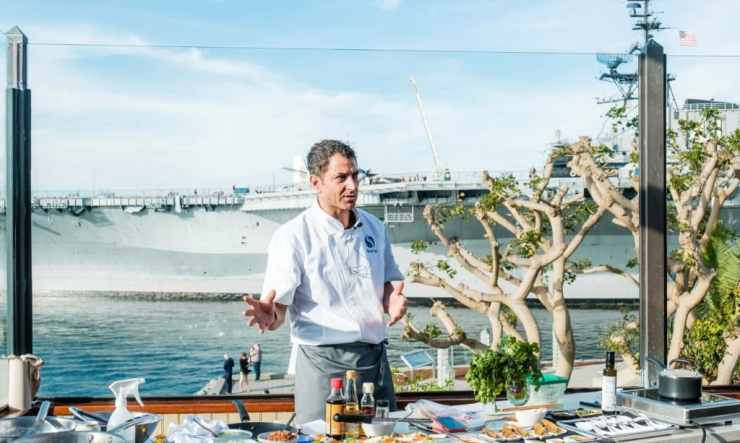 BlueNalu's Corporate Chef, Gerard Viverito, demonstrates BlueNalu's whole-muscle, cell-cultured yellowtail product in a variety of dishes