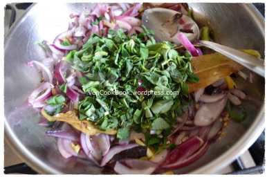 Methi/Fenugreek leaves added to the pan