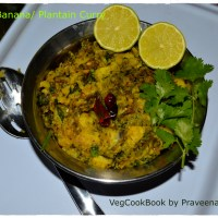 Raw Banana Curry (Wet) / Aratikaya Muddha Koora