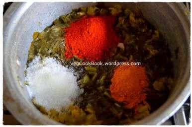 Salt, turmeric powder, red chilli powder