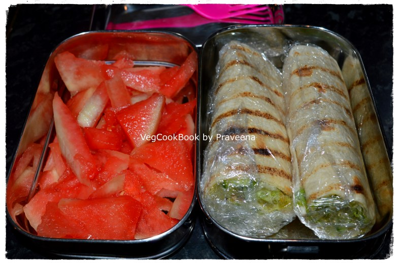 Kids Lunch Box with Curried Green Wraps, prepared the same morning