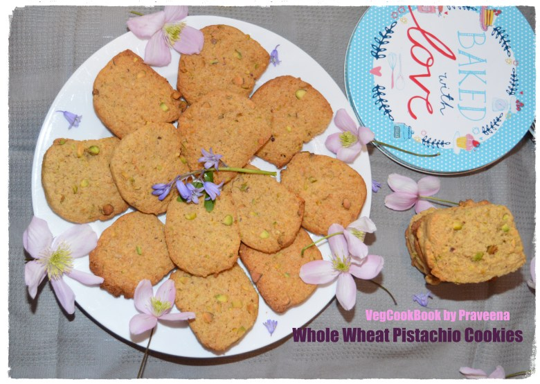 Whole Wheat Pistachio Cookies (Egg Free)