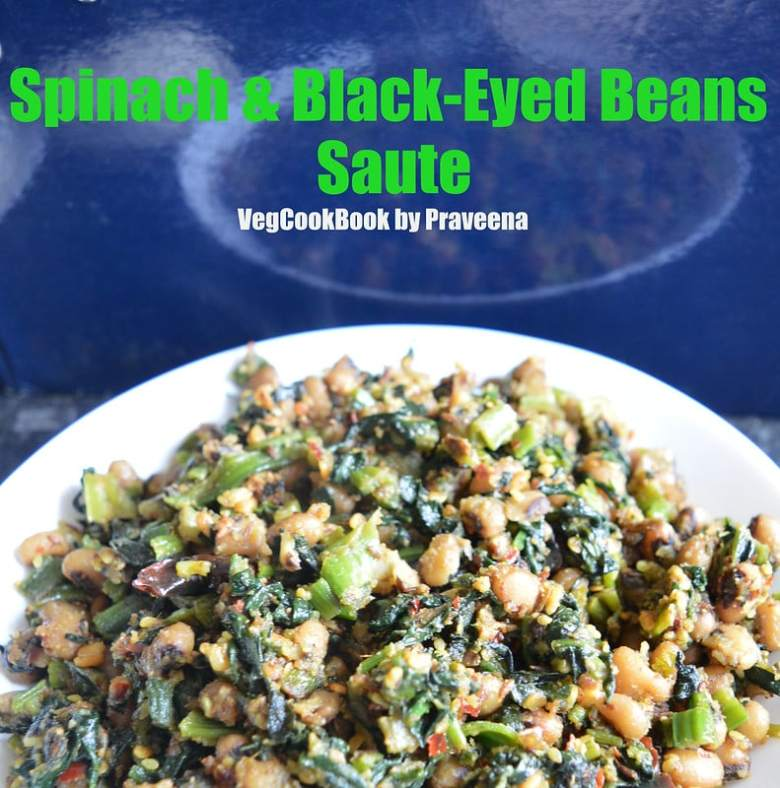 spinach & black-eyed beans saute