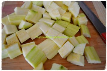 Courgettes/Zucchinis cut into cube size pieces