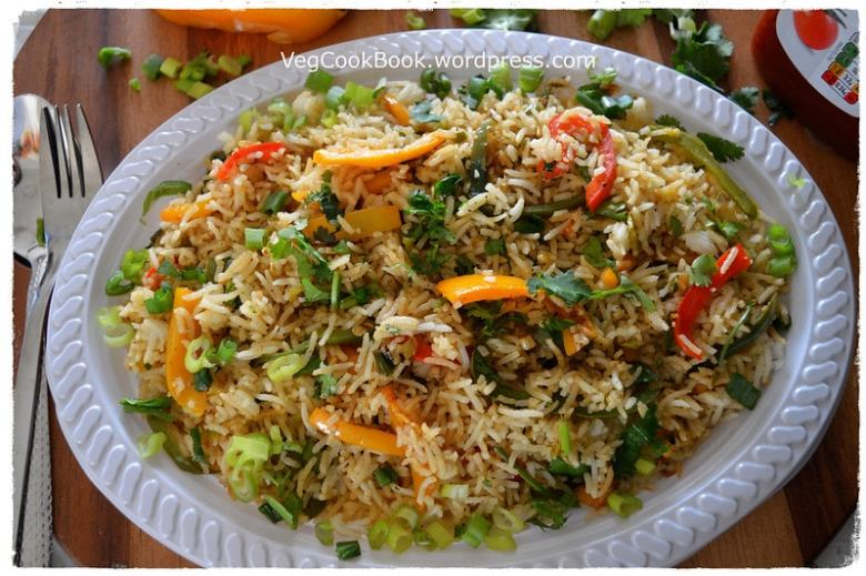 Tri-capsicum chinese fried rice. with BELL PEPPERS,Vegan,Gluten free,kids friendly,left over rice, 15 mins dinner recipe.instant pot / stove top