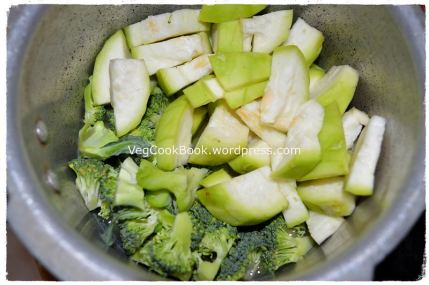 Broccoli-Tinda/Squash pieces added to the dal