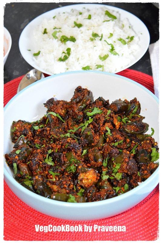 Vankaya Podi Koora / Eggplant Fry (air fryer - stove top)