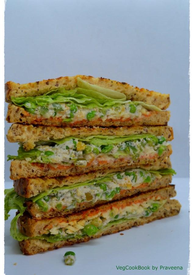 Vegan Mayo & Green Peas Spicy Sandwich