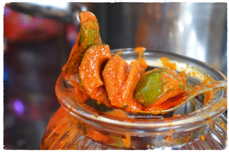pesara avakaya / mango pickle with moong dal